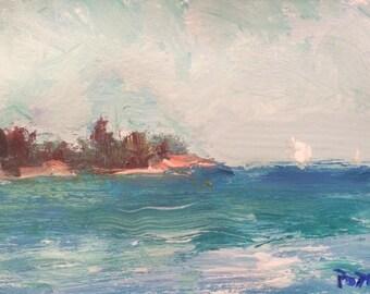 Small Ocean Seascape Original Acrylic Painting, sailboat and blue sea, near beach, Russ Potak