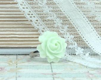Light Green Ring Green Floral Ring Rose Ring Green Flower Ring Rose Cabochon Ring Pastel Ring