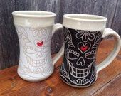 Black and White Sugar Skull Mugs - Set of 2 / His and Hers