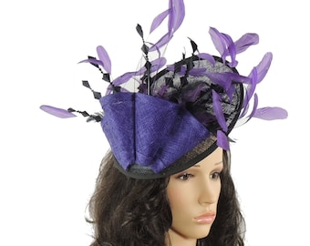 Black/Purple Galina Fascinator Kentucky Derby or Wedding Hat on a Headband