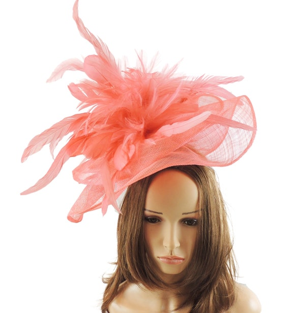 Coral Pink Velidhoo Fascinator Hat For Kentucky