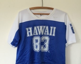Blue Hawaii Football Mesh Jersey Tee Shirt Small M 90s
