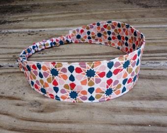 Fabric Headband with Elastic: Navy on Beige Print