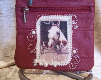 Red Leather Crossbody Purse with a Gray Horse, Two Dogs and Rhinestones