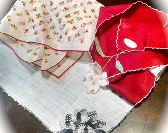 Vintage Hankies Lot of 3 Embroidered Print and Appliquéd Handkerchiefs Retro Linens Stickers Ireland Bloch Freres