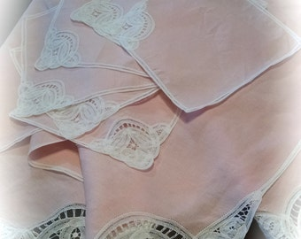 Tablecloth and Napkin Set Pink Linen with White  Machine Embroidery Work