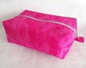 Zippered Box Pouch, Makeup Travel Case, Toiletry Case, Medium Cosmetic Case, Woman's Gift Idea, Pink Cosmetic Case