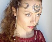 Triple Moon Goddess Circlet in Silver and Natural Quartz