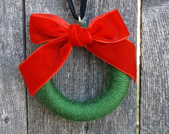 Wool Mini Wreath Ornament - Green with Red Velvet Ribbon