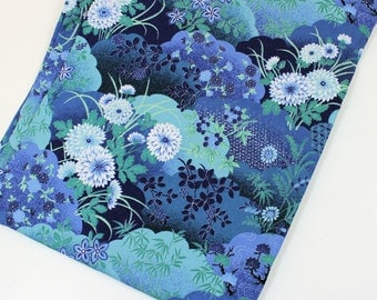 Asian Blue Cotton Fabric, 2 1/2 yards Oriental Gardens by Artistic Expressions, Blue Floral Yardage, Quiltsy Destash