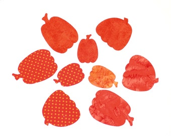 NINE Applique Fabric Iron-On Pumpkins - Three Fabric Choices - Polka Dots or Deep Orange or Batik Pumpkins Applique Shapes