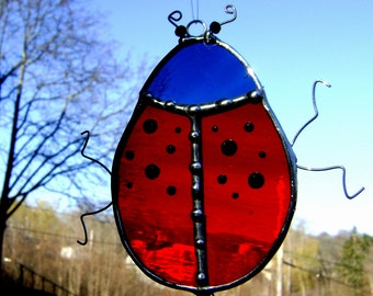 Ladybug Stained Glass Christmas Ornament Suncatcher Polka Dots Lady Mothers Day Yule Good Luck Jewels Halloween Pagan Original Design©