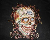 Black T with Very Colorful Skull Transfer