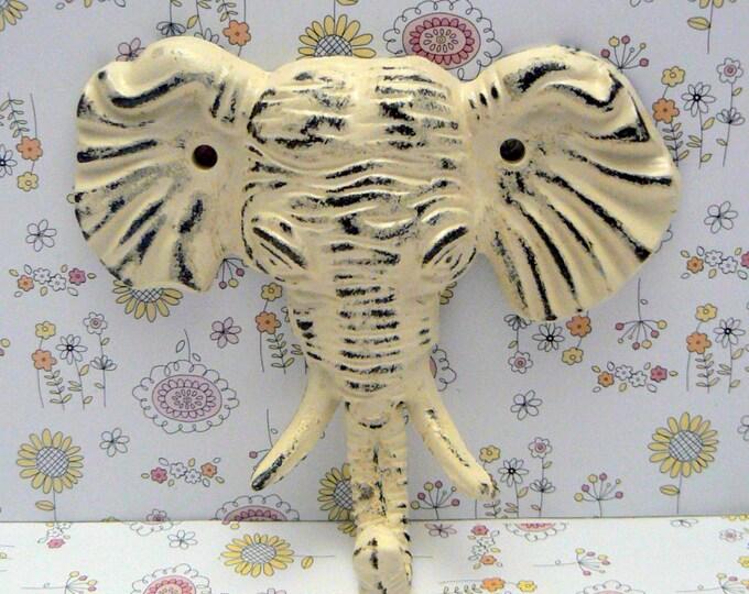 Elephant Cast Iron Tusk Wall Hook Shabby Chic Off White Home Decor