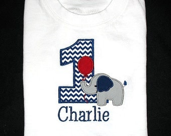 Custom Personalized Applique Birthday Number ELEPHANT with BALLOON and NAME Shirt or Bodysuit - Navy Blue Chevron, Red, and Gray