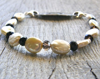 Champagne Pearl and Smokey Quartz Medical ID Bracelet, Cream Ivory Brown Alert Bracelet, Stainless or Silver Clasp Replacement Bracelet