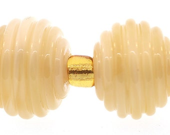 Lampwork Beads, Handmade Translucent Ivory Ribbed Round Lampwork Beads, cream lampwork beads, Made to Order, Bims Bangles