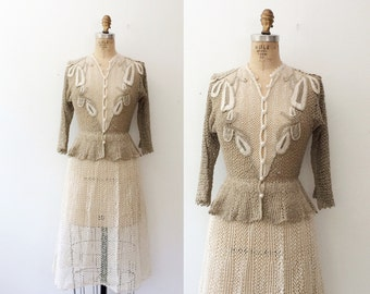 vintage crochet dress / vintage peplum dress / Sweetfern Crochet dress