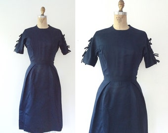 vintage navy dress / vintage 1950s dress / Adorned dress