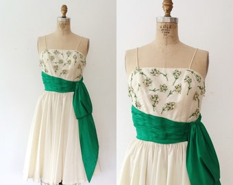 1950s dress / vintage party dress / Green Royalty dress