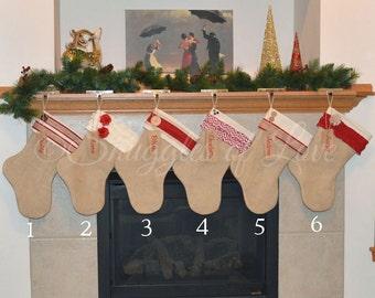 SET of 5 PERSONALIZED STOCKINGS - Burlap Christmas Stocking Set - Personalized Burlap Stockings - Custom Shabby Chic Stocking Set