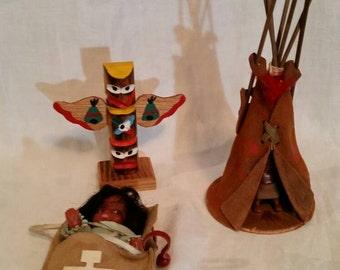 SALE! Vintage Native American, Cherokee Indian playset