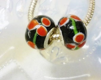 Murano Floral Art Design, European Bead 1 Bead Euro Bead