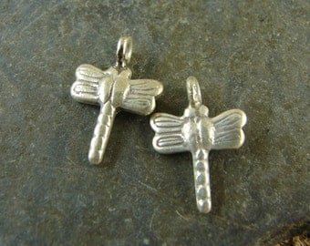 Itty Bitty Little Dragonfly Charms - Hill Tribe Fine Silver - Thai Silver Dragonfly Charms - Artisan Dragonfly Charms - htfsibdfc