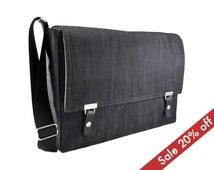 "17"" Laptop messenger bag - dark blue denim"