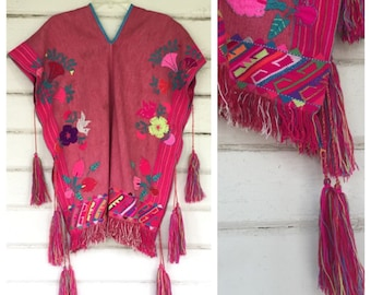 VINTAGE hand woven embroidered Mexican tunic poncho fringe
