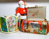 2 Vintage Christmas Card Boxes/Containers/Hand Crafted Vintage Collectible/ Christmas Decor/ Home Decor/Paper Boxes/ Ephemera