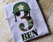 Army or marine helmet applique birthday shirt. Custom birthday shirt. Personalized birthday shirt. Military birthday.