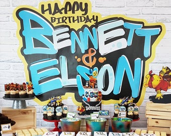 Graffiti Backdrop Personalized with Name, Hip Hop Birthday, Hip Hop Graffiti Banner Backdrop, 60x40 Inches, HIGH RESOLUTION FILE