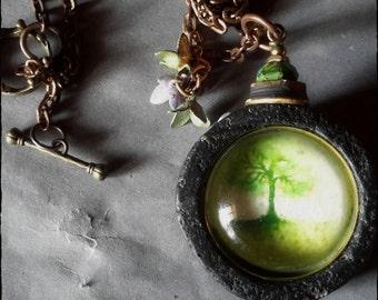 Tree pendant OOAK Resin watercolor image lavastone art necklace