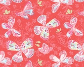 Begonia Red Aria Fabric -  Moda - Kate Spain - 27230 11 - Butterflies and Flowers