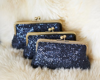 Navy Sequin Bridesmaid Clutch | Bridesmaids Gift Idea | Personalized Bridesmaid Gift | Wedding Clutch Purse [Set of 3 Esmé Clutches]