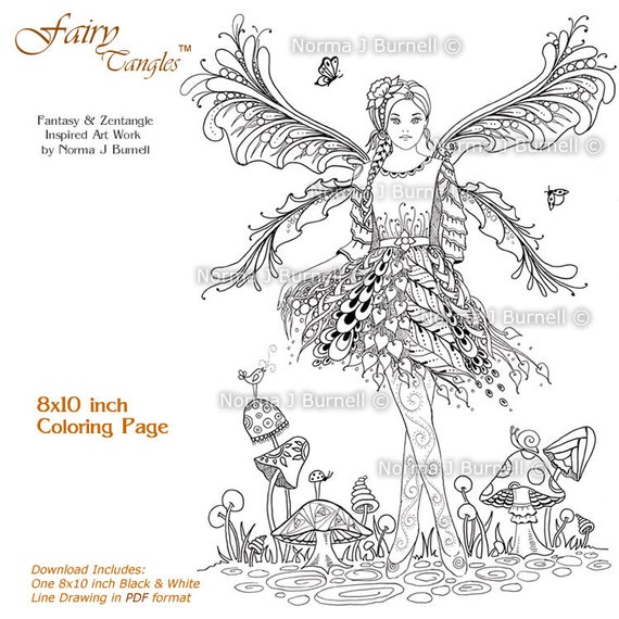 items similar to fairy mushroom garden fairy tangles printable adult coloring pages by norma. Black Bedroom Furniture Sets. Home Design Ideas