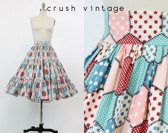 50s Skirt Novelty Print XS / 1950s Skirt Cotton Full / Patchwork Polka Dot Skirt