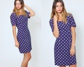 SALE Vintage 90s POLKA DOT Mini Dress Navy Blue Short Sleeve Body Con Wiggle Dress