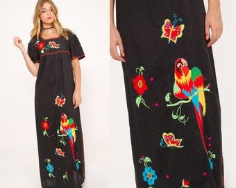 Vintage 70s EMBROIDERED Mexican Dress ETHNIC Boho Maxi Dress PARROT Print Dress Hippie Dress