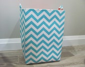 "13""x13""x19"" Laundry Hamper - Laundry Basket - Laundry Bag - XXL Basket - Toy Bin - Storage - Nursery - Home Decor- Aqua/White Chevron"