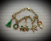 "Santa Gold and Enamel Christmas Holiday 7"" Bracelet Snowflake Christmas Tree Candle Wreath"