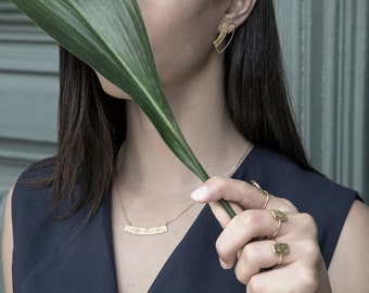 Linear Earring-Textured Jewelry-Handcrafted Gold Plated Brass