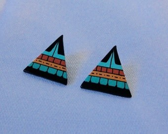 Black, Turquoise, Golden Brown Triangle Ceramic Earrings. Artist Made Earrings.