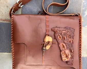 Alligator tail, Messaging bag, Brazilian leather, imported Italian leather, handbags, leather bag, brown bag, brown leather bag,