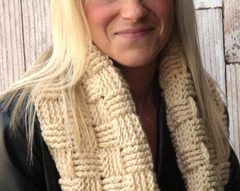 Chunky Infinity Cowl - Beige Basket Weave Cowl - Hooded Cowl - Neutral Winter Cowl - Chunky Winter Cowl - Textured Scarf - Infinity Scarf