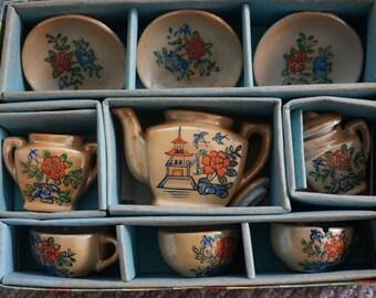 Vintage Child Tea Set Made in Japan Luster ware  In original box Flower design