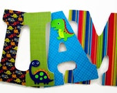 Dinosaur Nursery Letters - Dinosaurs Wood Letters - Boys Dinosaur Nursery Decor - Dinosaur Wall Letters - Boys Bedroom Decor - Blue Green