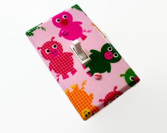 SALE Pigs Light Switch Cover - Girls Nursery Decor - Pink Pig Switch Plate - Girls Bedroom - Girls Farm Decor Switchplate - Pink  Pig