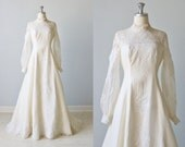 Vintage 1970s Long Sleeve Lace Wedding Dress / Vintage 70s Wedding Gown / Boho / Lace and Silk / Julia